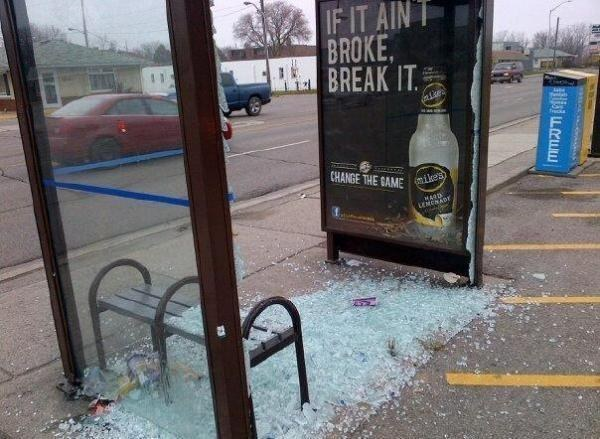 Mike's Hard Lemonade bus shelter fail